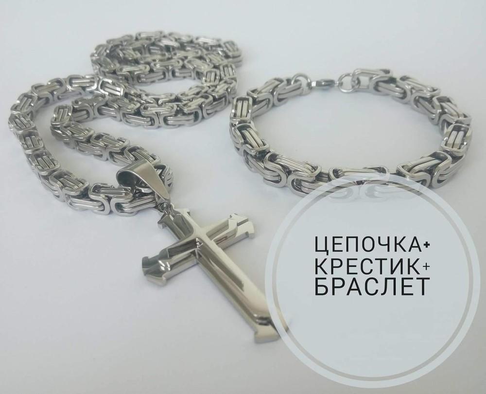 Браслет + цепочка + крест steel rage silver фото №1