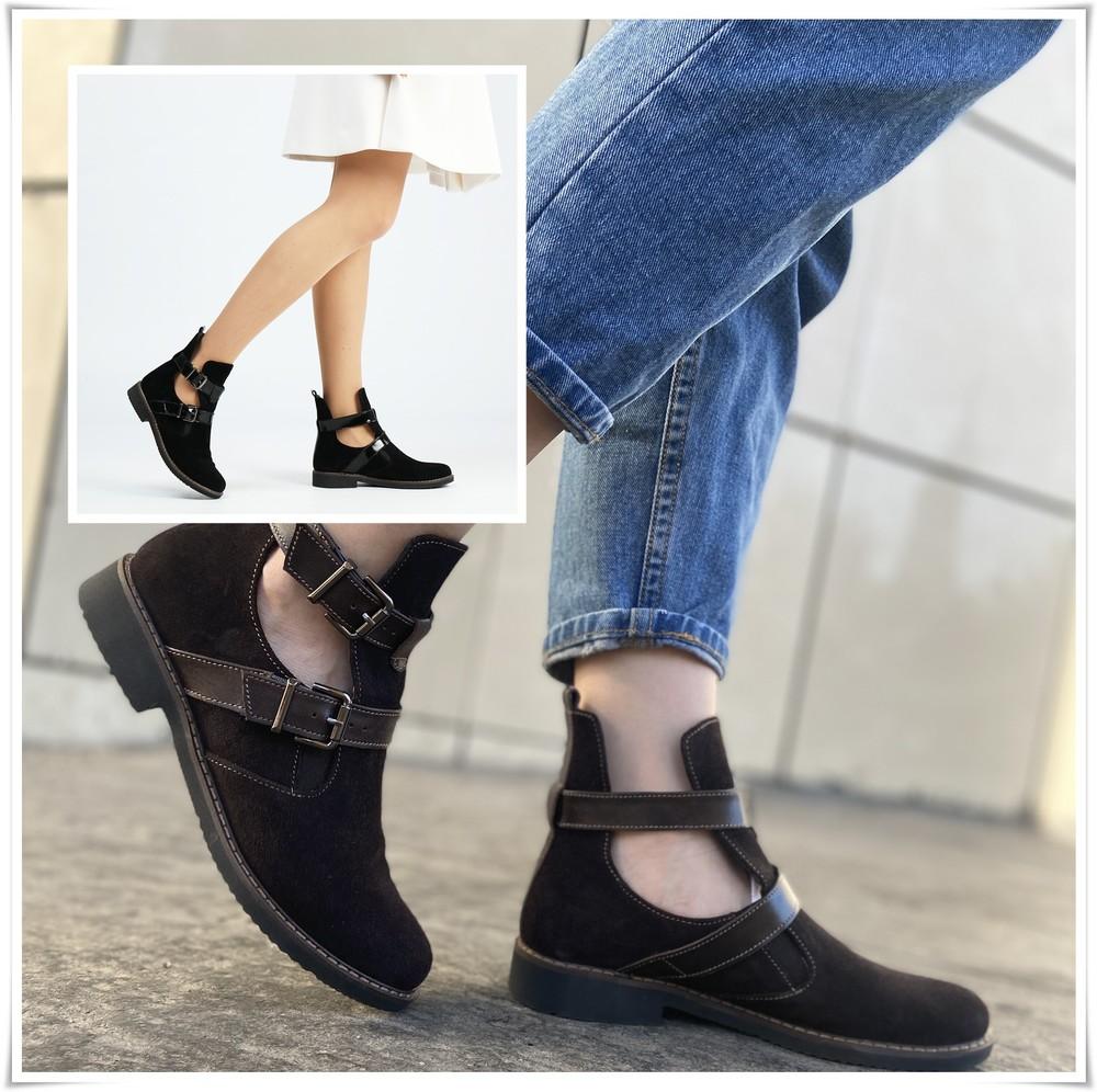 Стильные закрытые туфли полуботинки на низком ходу с пряжками, туфли замша фото №1
