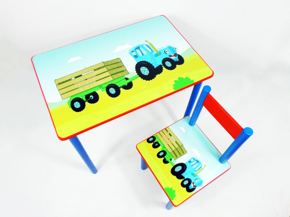 """Детский стол и стул """"синий трактор"""" комплект мебели от 2 до 7 лет (стол-парта) фото №1"""