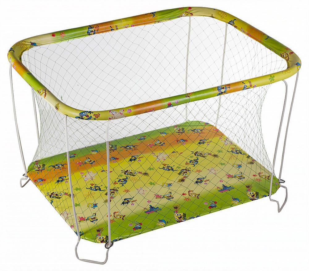 Манеж детский игровой  kinderbox классический губка боб с крупной сеткой (kmk 206) фото №1