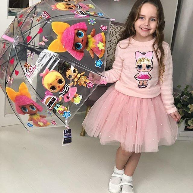 Детский прозрачный купольный зонт зонтик трость куклы лол для девочки фото №1