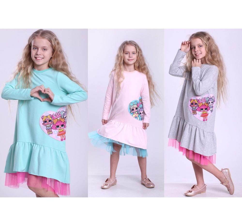 Стильное трикотажное платье с куклой лол фото №1
