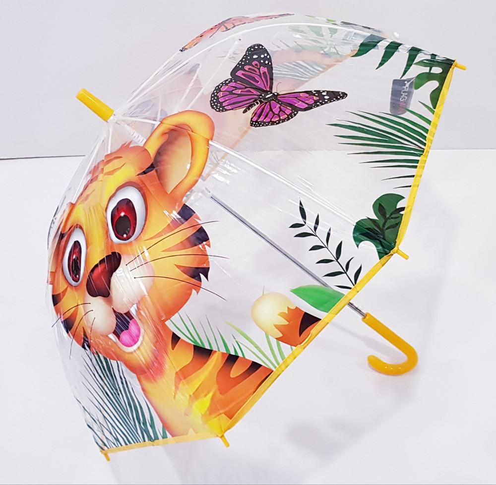 Прозрачный купольный зонт для мальчика  девочки 3-7 лет фото №1