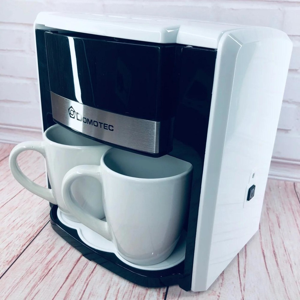 ✅капельная кофеварка электрическая domotec ms-0706, 500w + 2 чашки белая фото №1