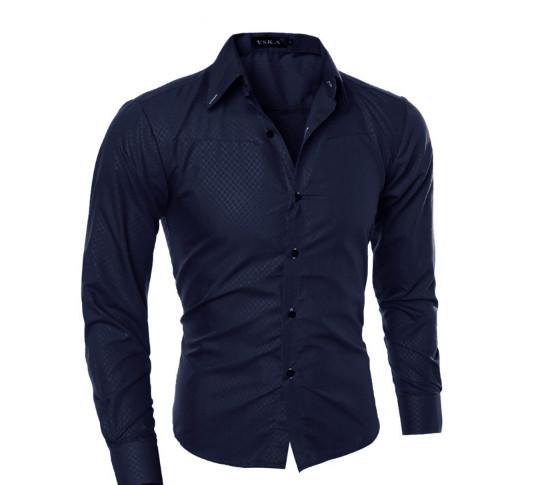 Рубашка в британском стиле длинный рукав темно-синяя код 1 фото №1