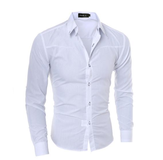 Рубашка в британском стиле длинный рукав белая код 1 фото №1