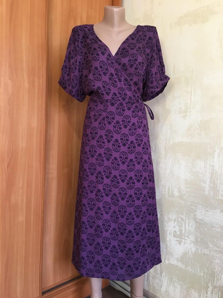 Роскошное натуральное платье на запах в принт noanoa фото №1