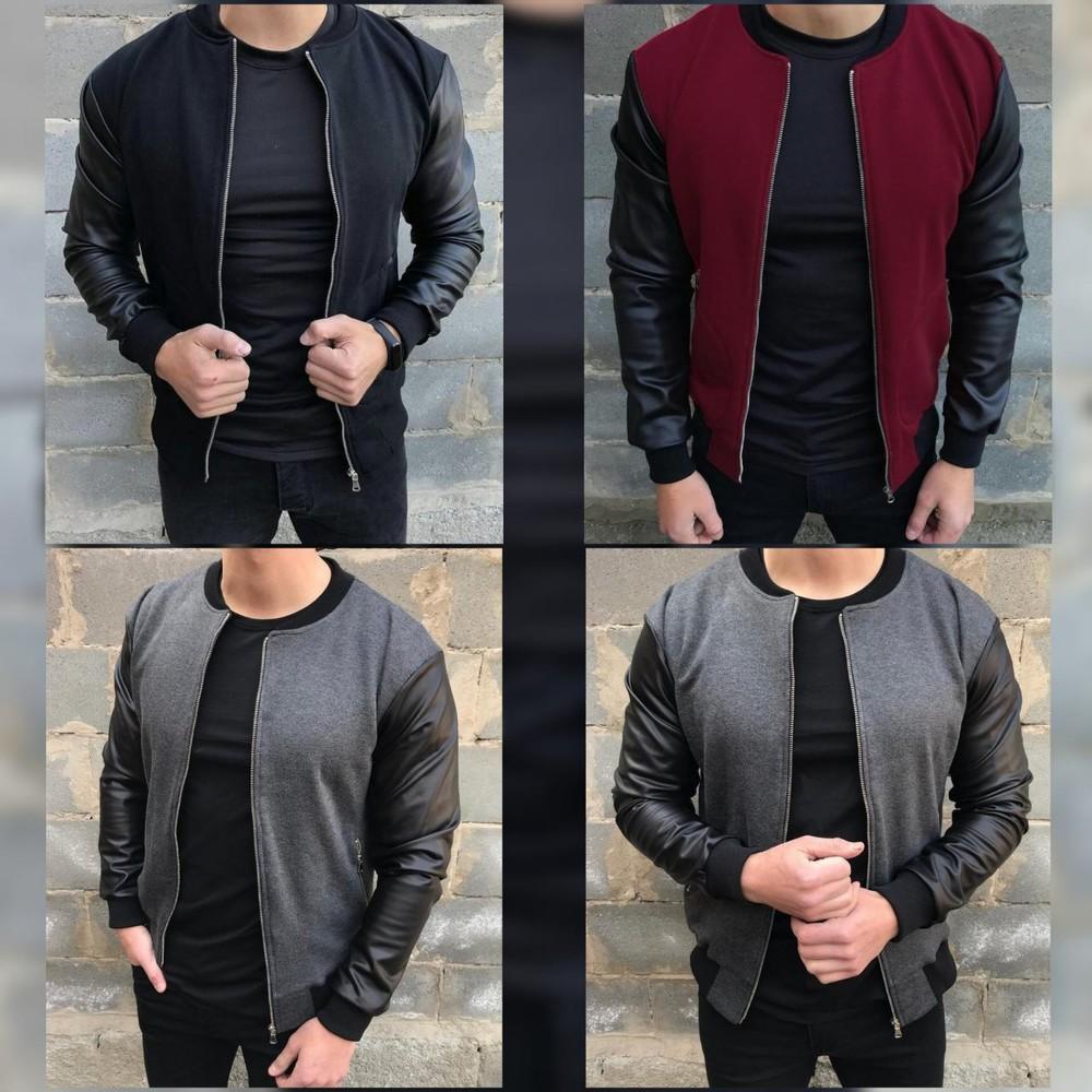 Бомбер мужской с рукавами из эко-кожи ,куртки 3 цвета фото №1