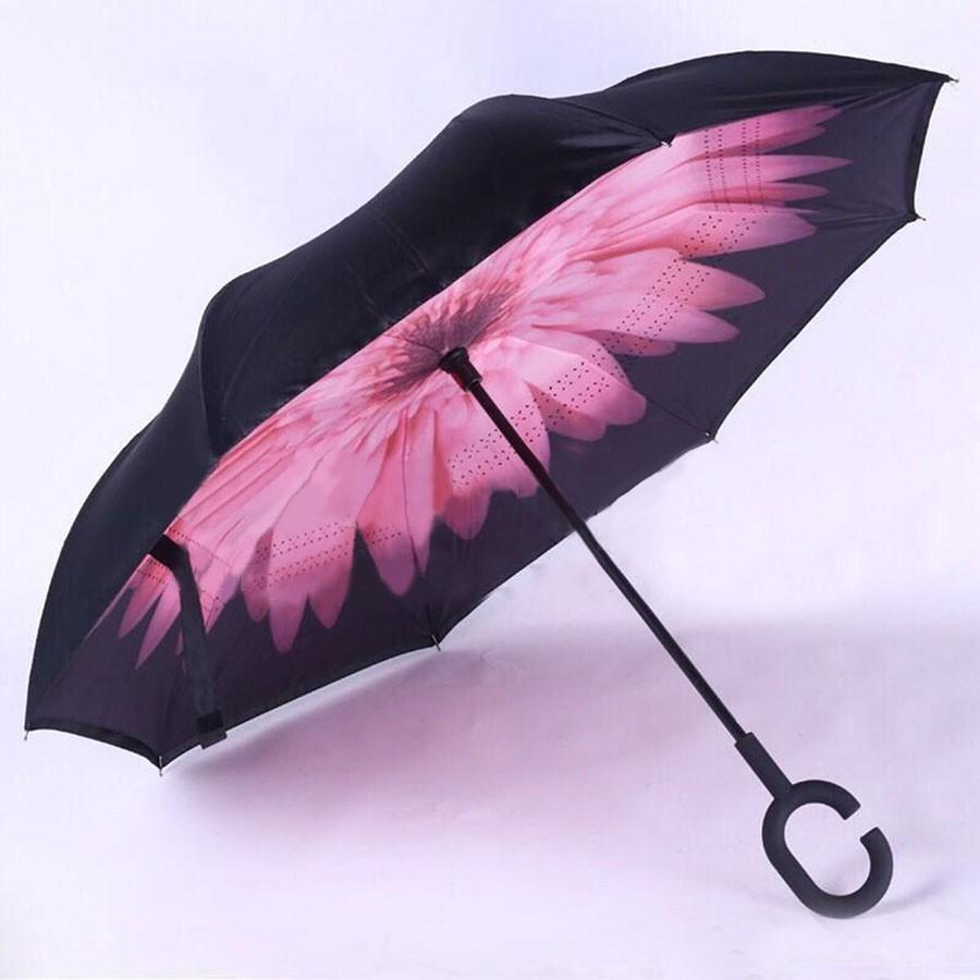 Хит реверсный женский smart зонт наоборот, крепчайший зонт перевёртыш фото №1