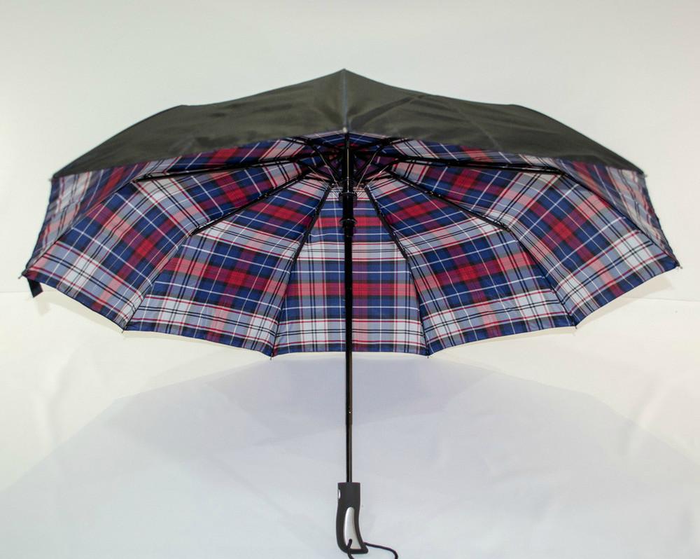 Качественный мужской женский зонт полуавтомат fiaba в клетку двойной купол фото №1