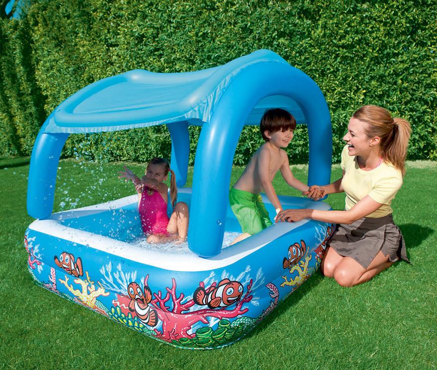 Детский надувной бассейн с навесом съёмная крыша 52192 фото №1