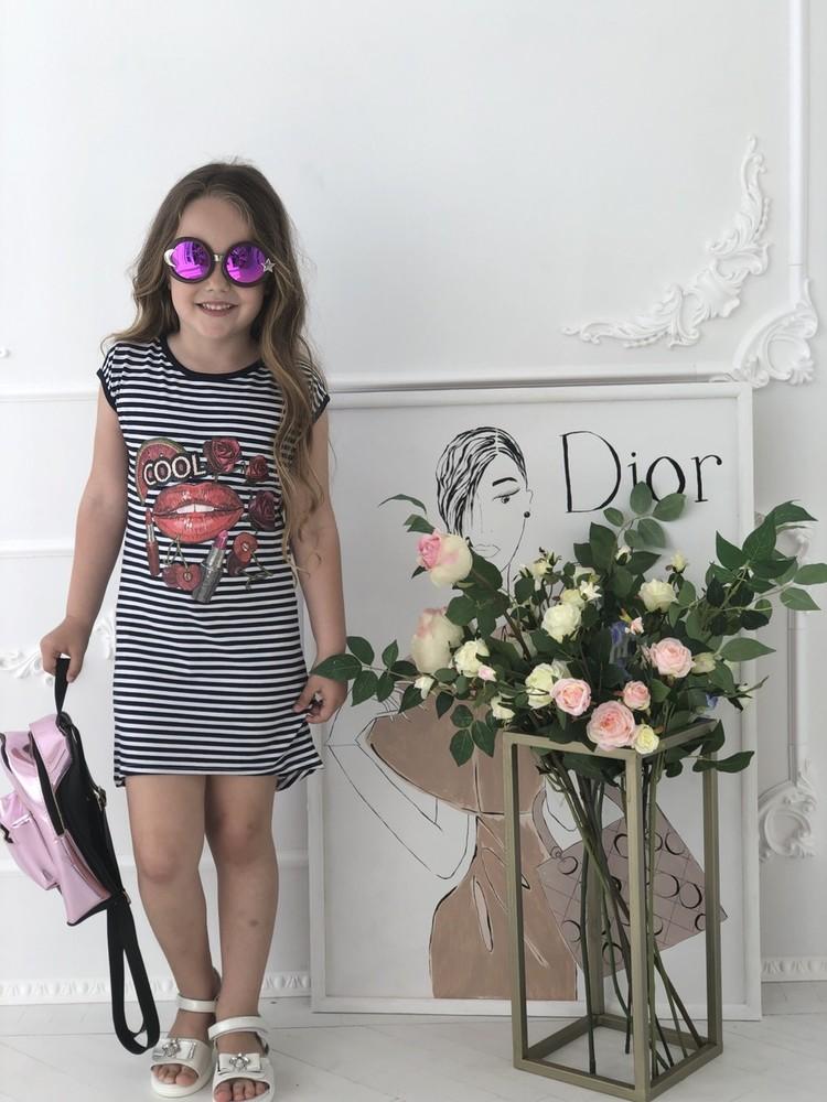Летний сарафан платье туника полоска в ассортименте от производителя 128-146 фото №1