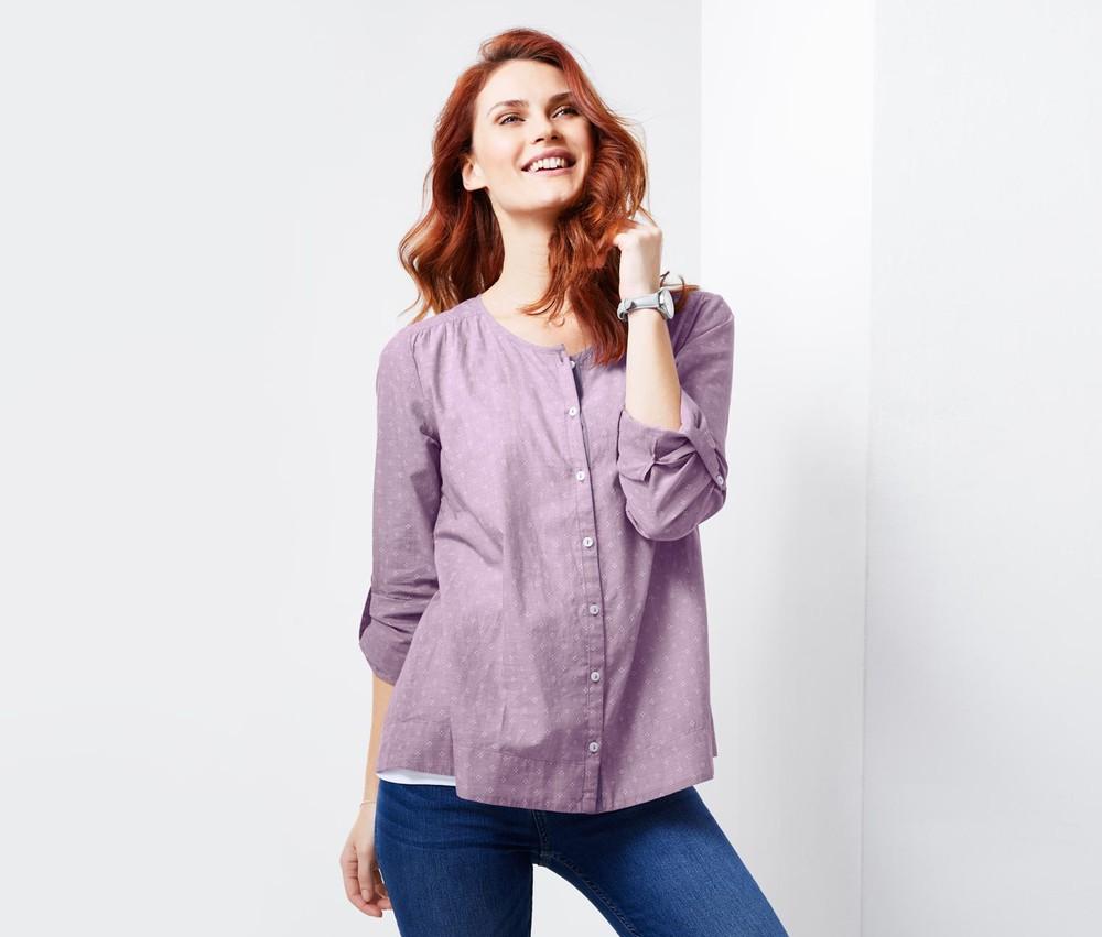 Красивая блузка из хлопка шамбре, сирень,  тсм чибо. 36, 44 евро фото №1