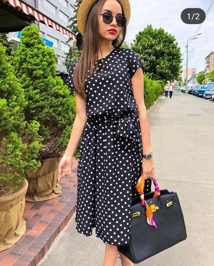 Чёрное платье в горошек!в наличии есть разные размера! фото №1