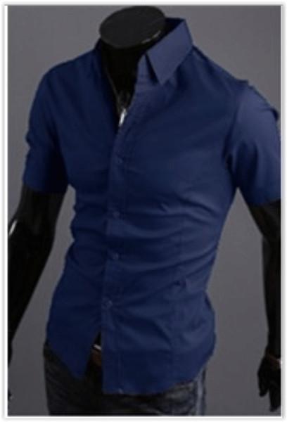 Рубашка мужская синяя классическая m-xxl код 59 фото №1