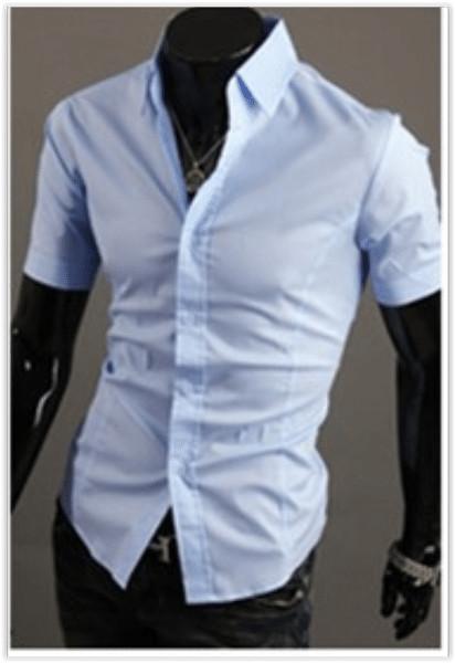 Рубашка мужская голубая классическая m-xxl код 59 фото №1