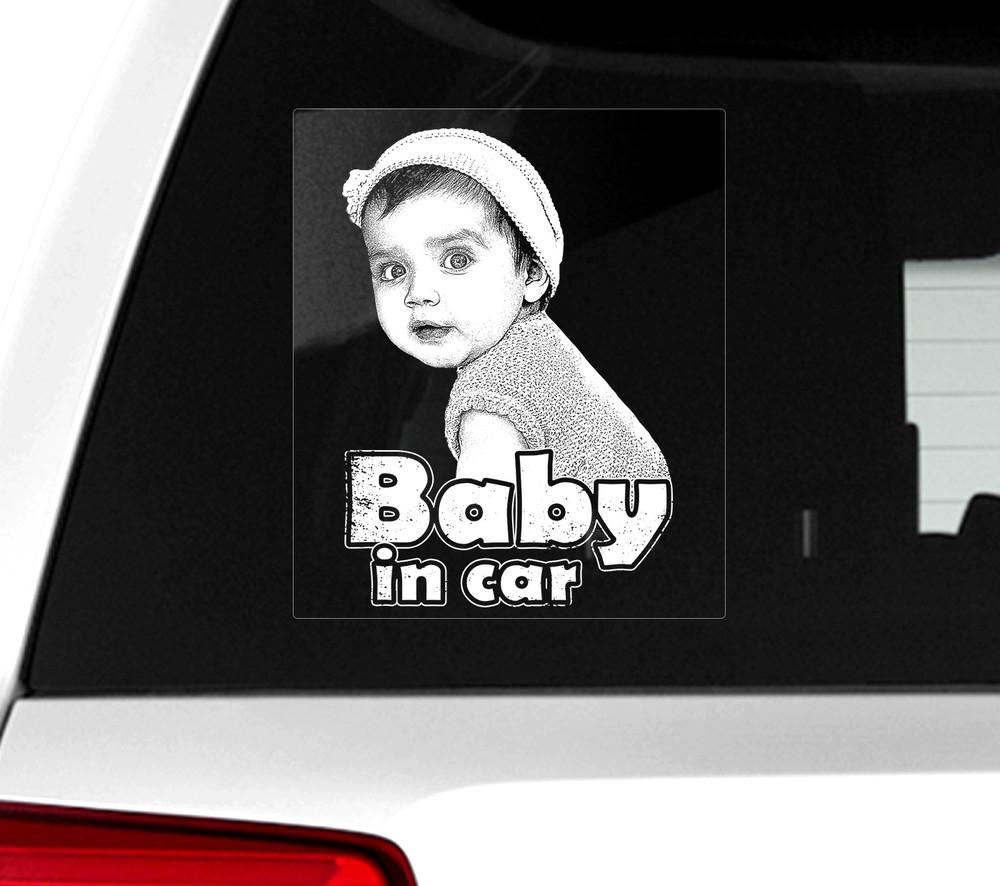 Автомобильные наклейки на стекло baby in car (ребенок в машине) фото №1