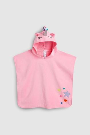 Рожеве пляжне пончо next з єдинорогом для дівчат розм. 0-10 р. під замовлення фото №1