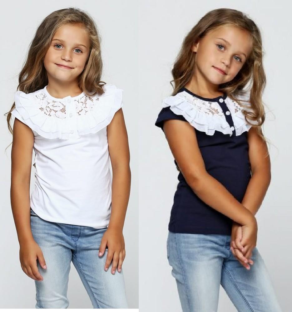 Хлопковая синяя, белая, молочная, черная блузка с кружевом. фото №1