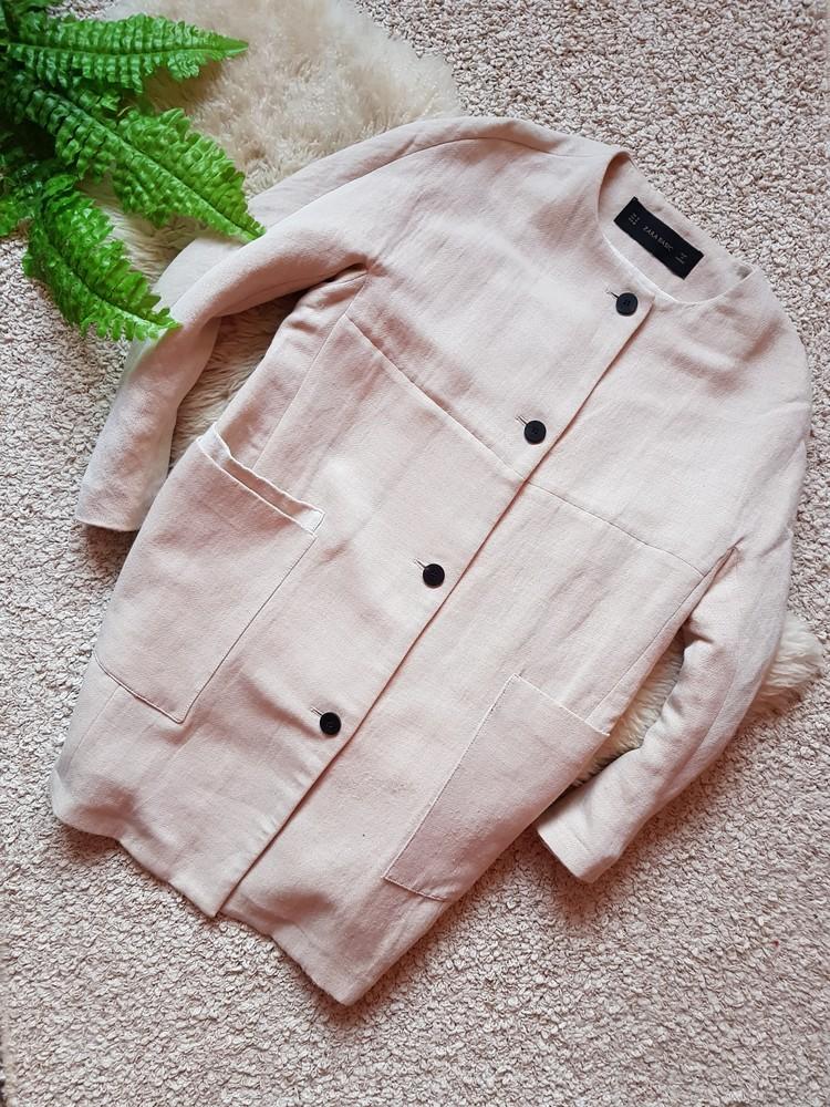 Стильное льняное пальто от zara s-m фото №1