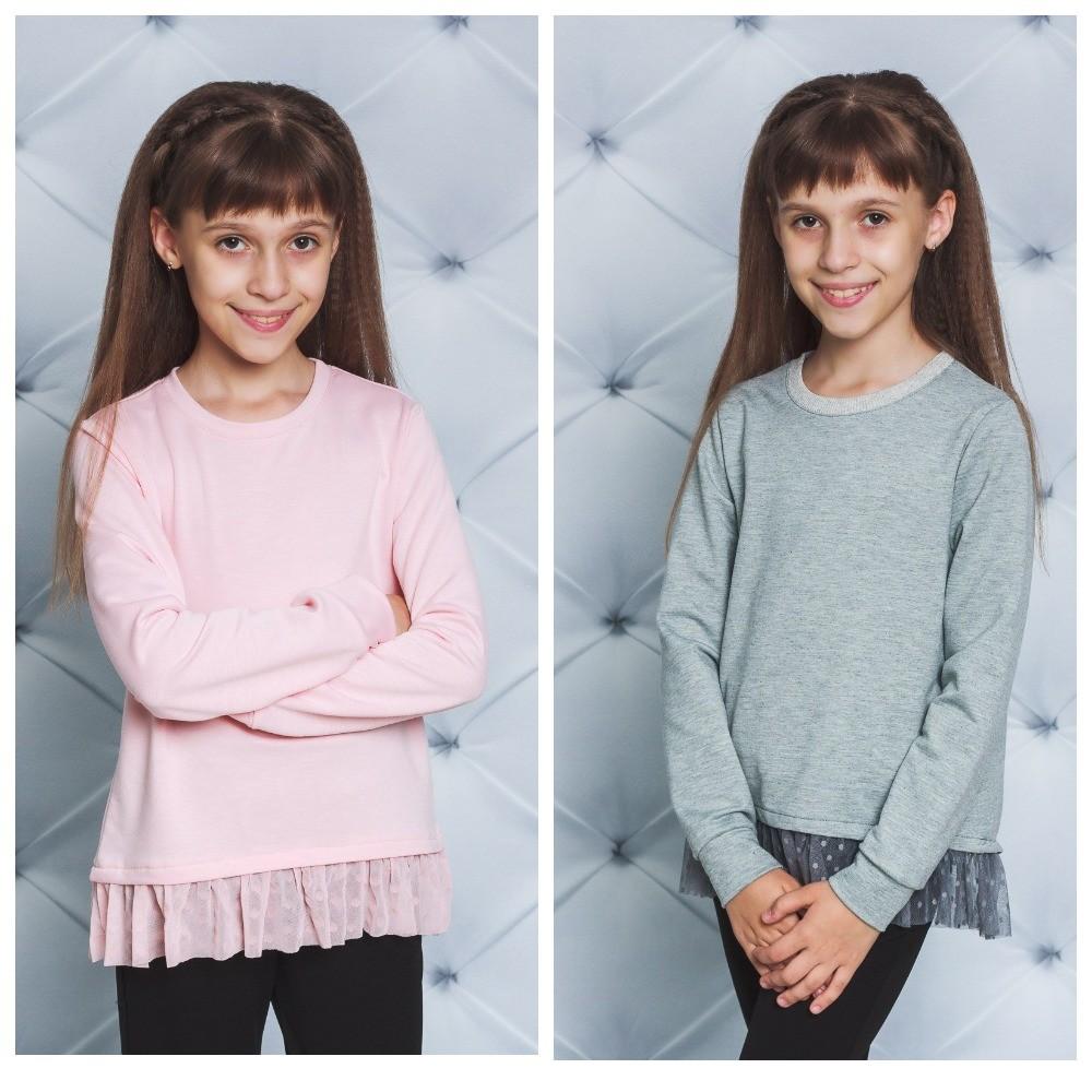 Модная кофточка- реглан для девочки с баской 122-152 фото №1