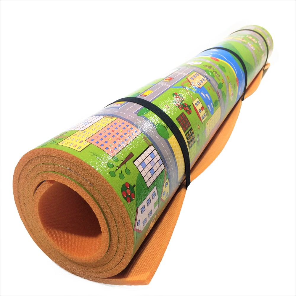 Детский теплоизоляционный развивающий игровой коврик «парковый городок» 2000×1200×8мм фото №1