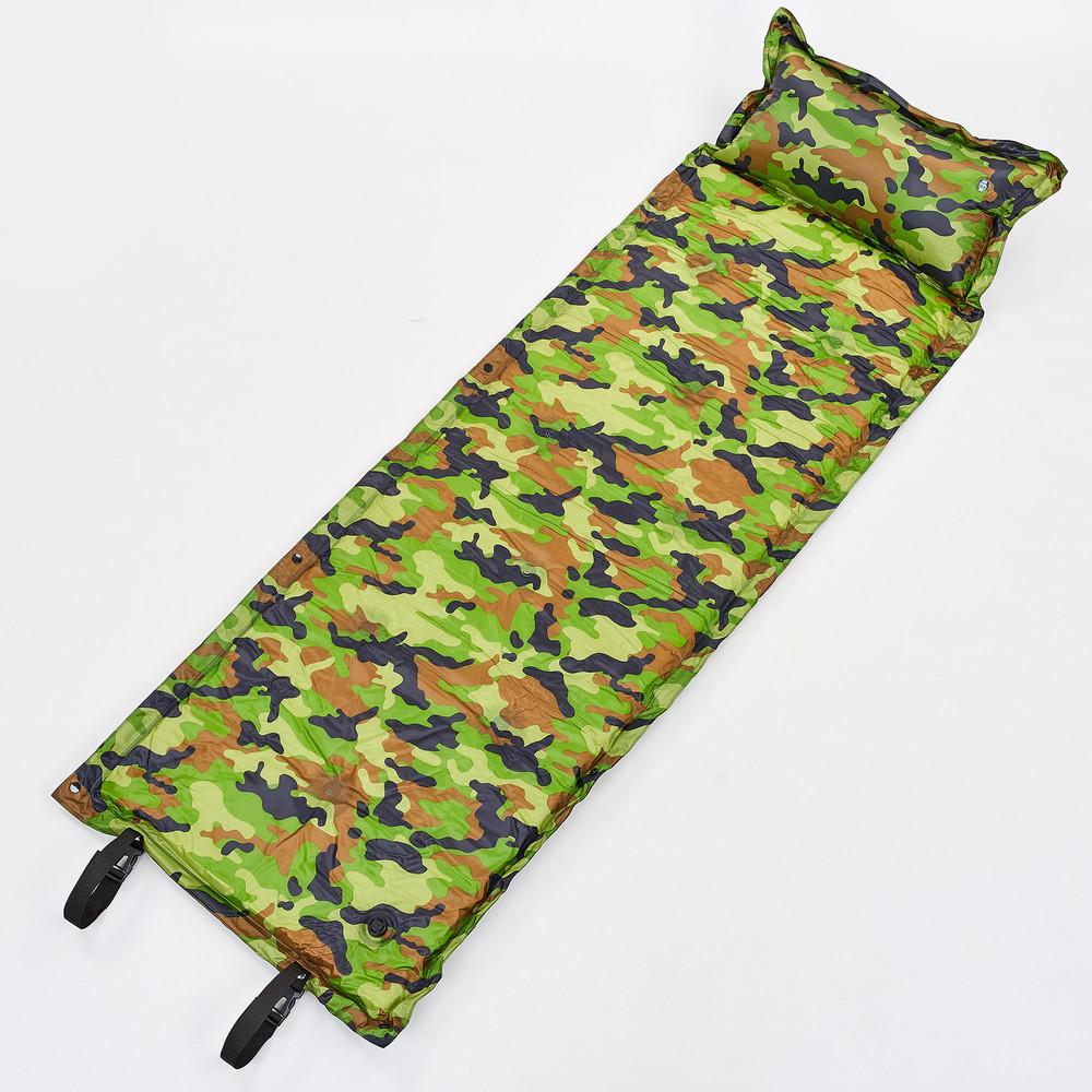 Коврик для кемпинга самонадувающийся с подушкой 0560 (матрас самонадувающийся): 180х50см, камуфляж фото №1