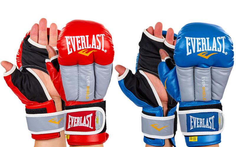Перчатки гибридные для единоборств кожаные mma elast 0271: 10-12 унций (2 цвета) фото №1