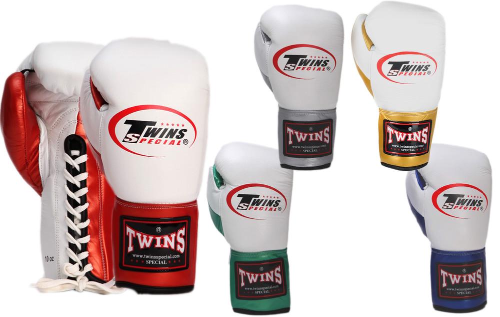 Перчатки боксерские на шнуровке twins 0279: 10-16 унций, кожа (5 цветов) фото №1