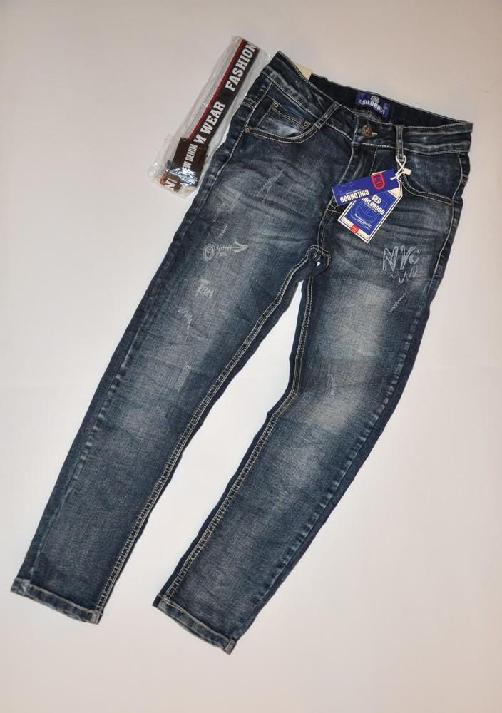 Демисезонные джинсы на мальчика с поясом в комплекте на рост 134-158 фото №1