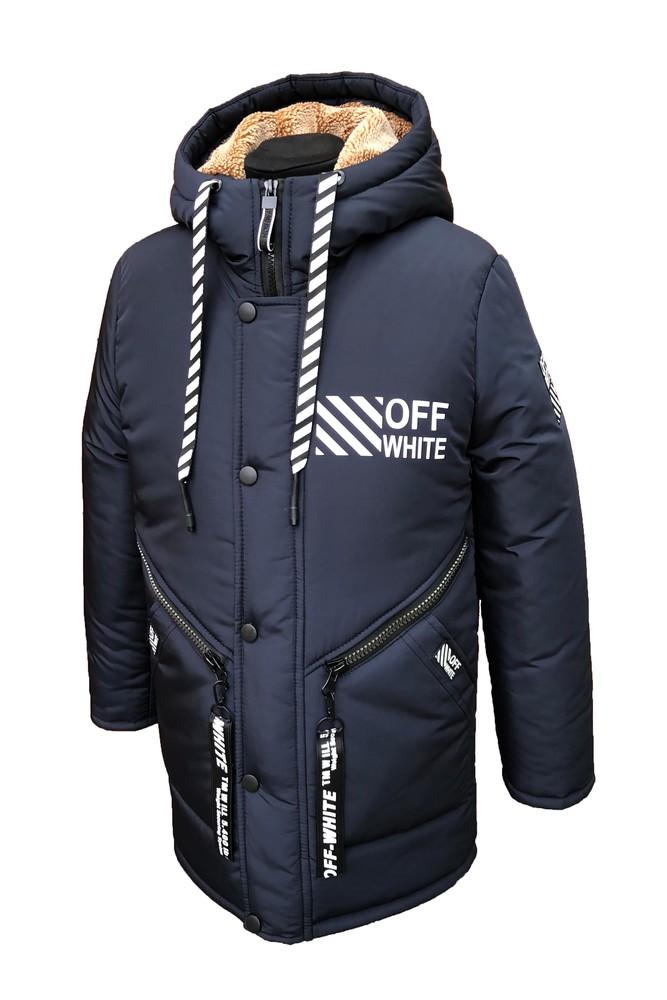 Зимняя удлиненная парка off white на мальчика подростка на овчине рост 134-164 синий фото №1