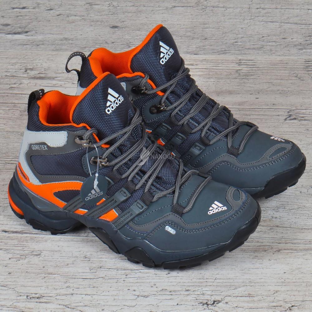 Термо кроссовки кожаные adidas gore tex terrex детские мембранные серые с оранжевым фото №1
