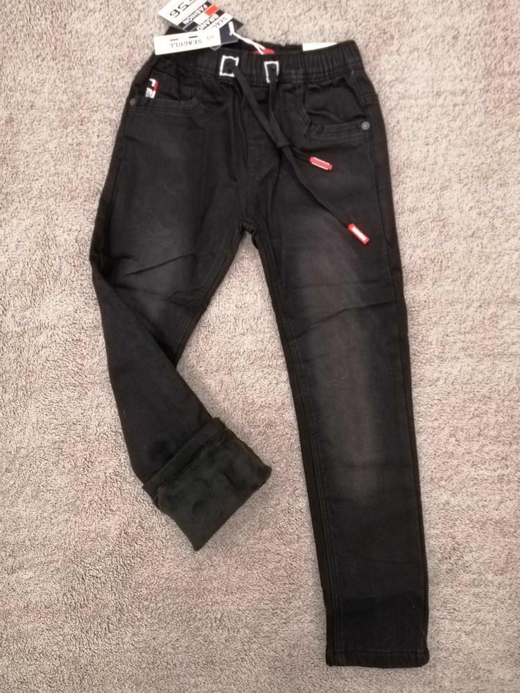 Черные джинсы на флисе р. 134 seagull фото №1
