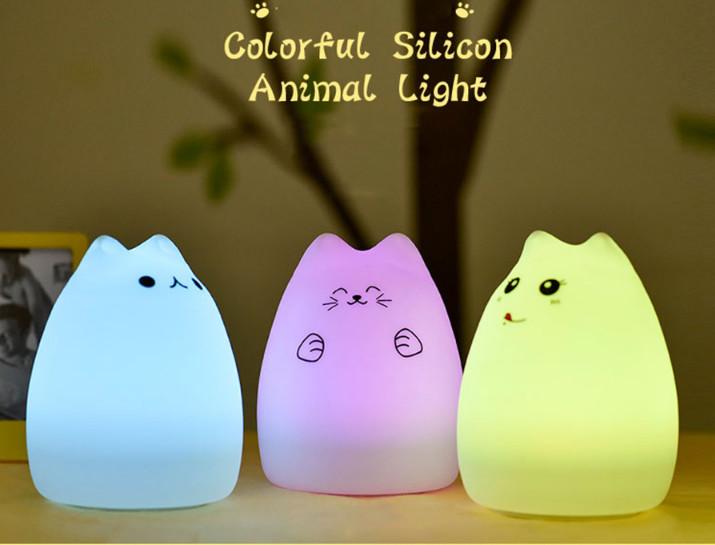 Силиконовый led ночник-лампа кошечка (два вида) фото №1