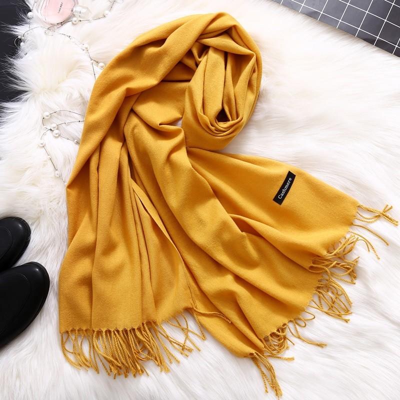 Женский длинный мягкий шарф палантин с кисточками кашемир фото №1