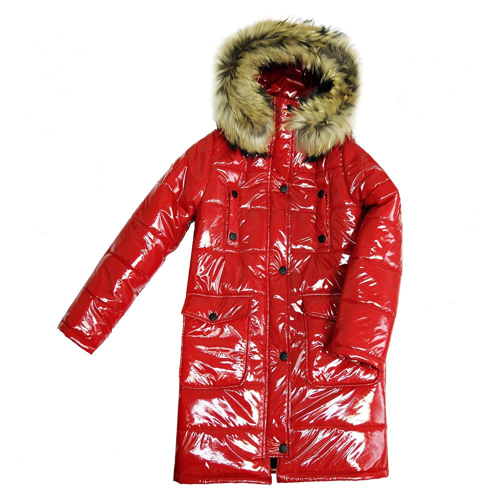 Красный утепленный зимний пуховик для девочки подростка фото №1