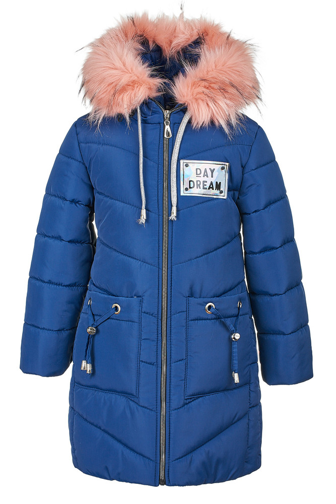Зимняя куртка синего цвета на девочку 6-10 лет, 2142 фото №1