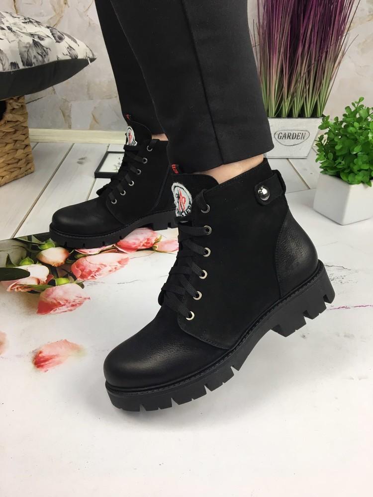 Зимние женские ботинки, натуральный нубук фото №1
