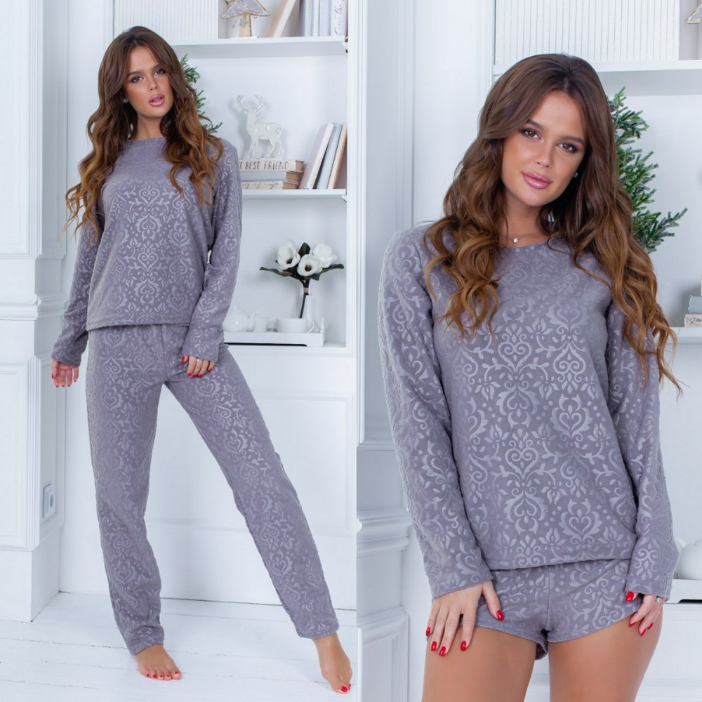 Теплая пижама тройка кофта штаны шорты фото №1