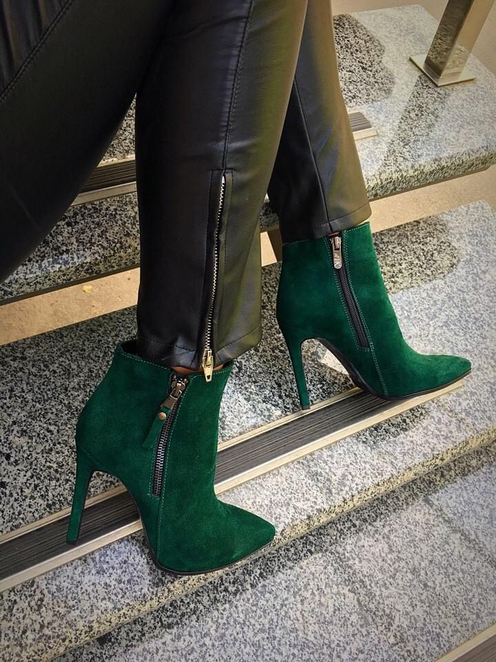 Ботинки кожа/замша каблук 4,6,8,9 см или танкетка байка/мех разные цвета фото №1