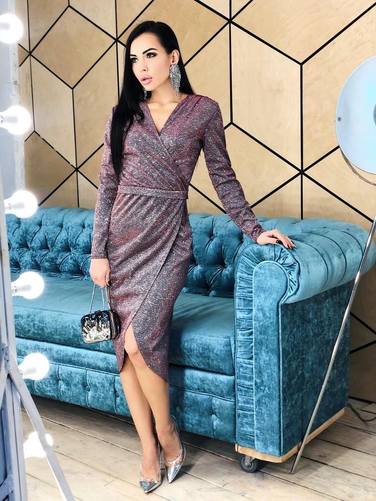 Стильное вечернее платье женское люрекс фото №1