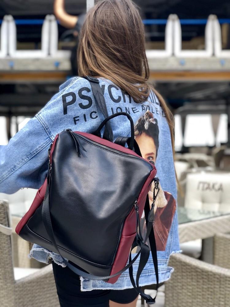 Кожаная сумка-рюкзак разные цвета фото №1