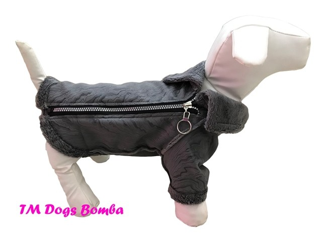 Куртка дубляж для собак змейка серые разводы k-55 фото №1