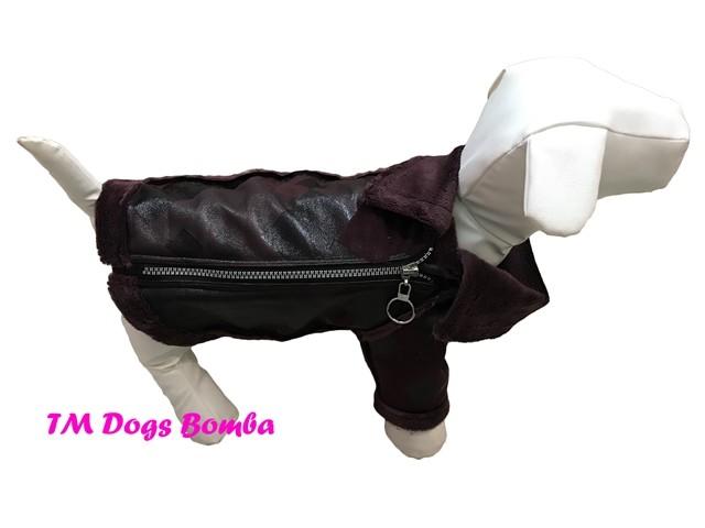 Куртка дубляж для собак змейка марсала геометр j-24 фото №1