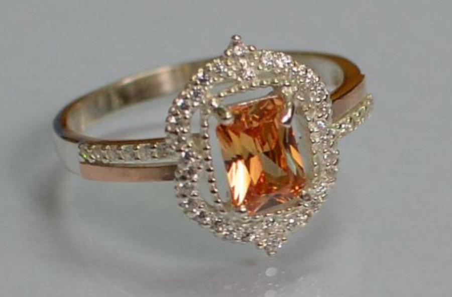 Серебряное кольцо с золотом и фианитами 154к фото №1