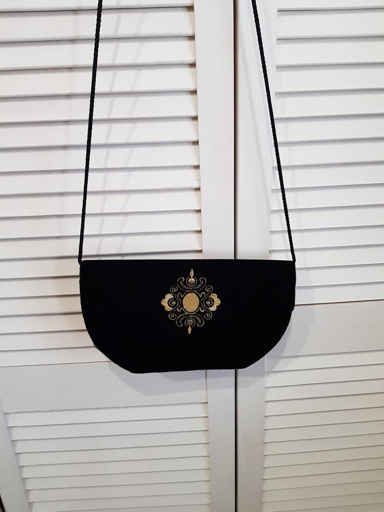 Стильная бархатная велюровая черная сумка фото №1
