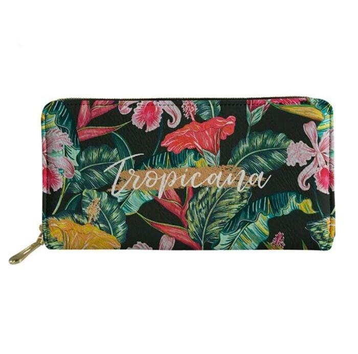 Кошелек тропический гавайский стиль с пальмовыми листьями и цветами фото №1
