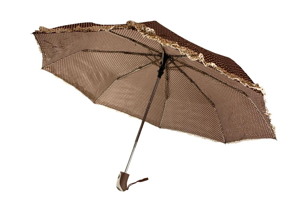 Зонт складной, автомат, 8 спиц, коричневый в горох фото №1