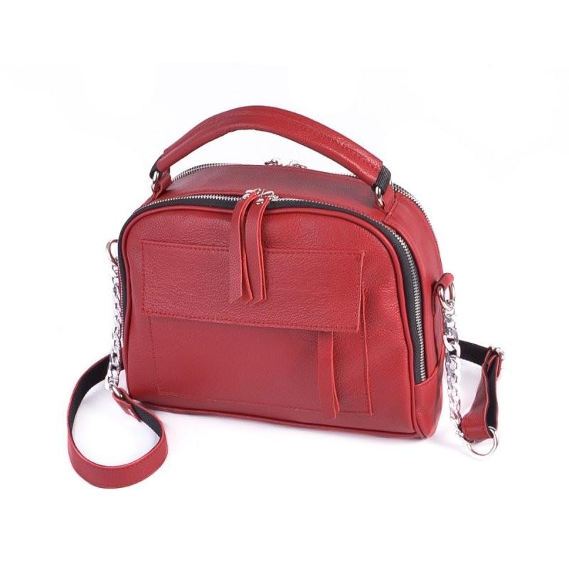 Кожаная маленькая сумка м198 red красная молодежная через плечо фото №1