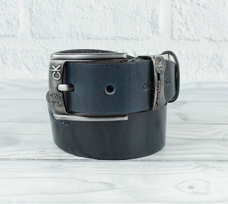 Ремень кожаный под джинсы синий calvin klein 8008-421 фото №1